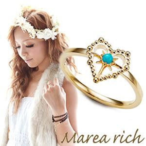 マレア リッチ Marea rich Hawaiian series K10 ハワイアン ハートモチーフ リング ゴールド×ターコイズ 10号 11KJ-14
