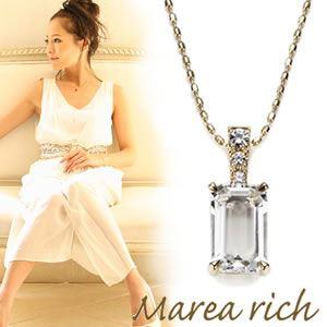 【送料無料】 マレア リッチ Marea rich K10 ネックレス ペンダント ゴールド×ホワイトクォーツ/ホワイトサファイア 12KJ-22