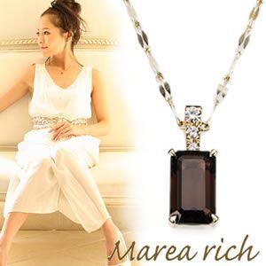 【送料無料】 マレア リッチ Marea rich K10 ネックレス ペンダント ゴールド×スモーキークォーツ/ホワイトサファイア 12KJ-24
