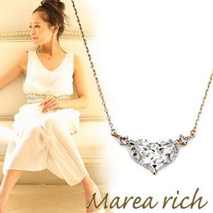 【送料無料】 マレア リッチ Marea rich K10 ハートモチーフネックレス ペンダント ゴールド×ホワイトクォーツ/ホワイトサファイア 12KJ-26