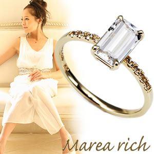 【送料無料】 マレア リッチ Marea rich K10 リング ゴールド×ホワイトクォーツ/ホワイトサファイア 10号 12KJ-23