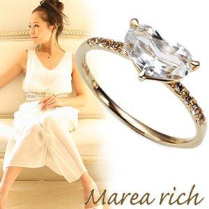 【送料無料】 マレア リッチ Marea rich K10 ハートモチーフリング ゴールド×ホワイトクォーツ/ホワイトサファイア 10号 12KJ-27