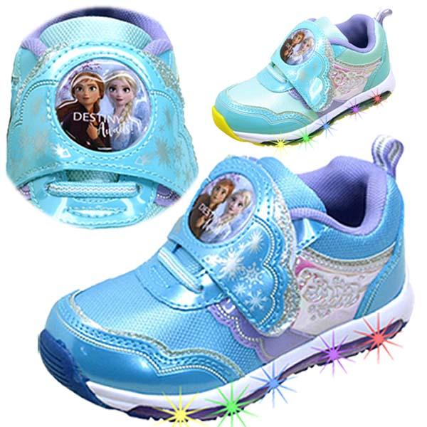 あす楽 永遠の定番モデル アナと雪の女王2 LEDでキラキラ ディズニー DISNEY 1009 キッズ 光るスニーカー ベルクロ 祝開店大放出セール開催中 運動靴 マジックベルト