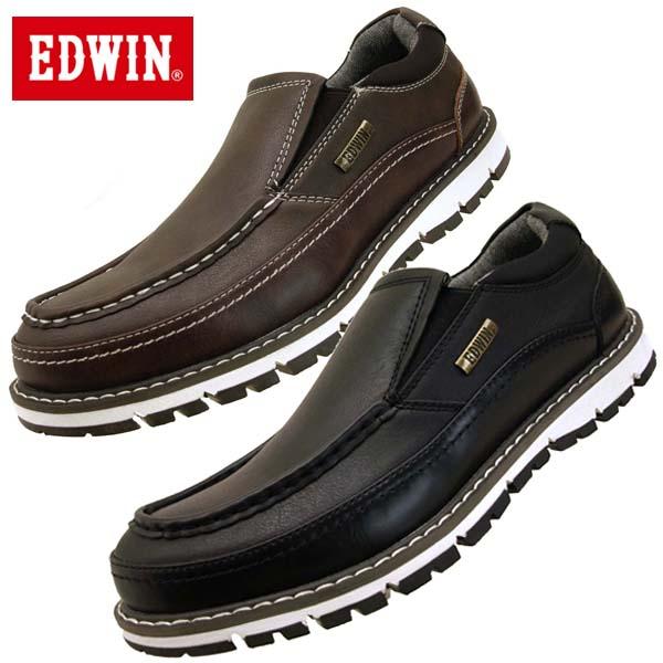 エドウィン EDWIN 7923 防水設計 カジュアルシューズ スリッポン メンズ