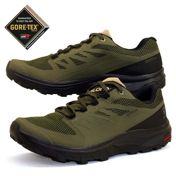 サロモン SALOMON OUTline LO GTX 409968 緑 ハイキング 登山靴 ゴアテックス 防水 メンズ