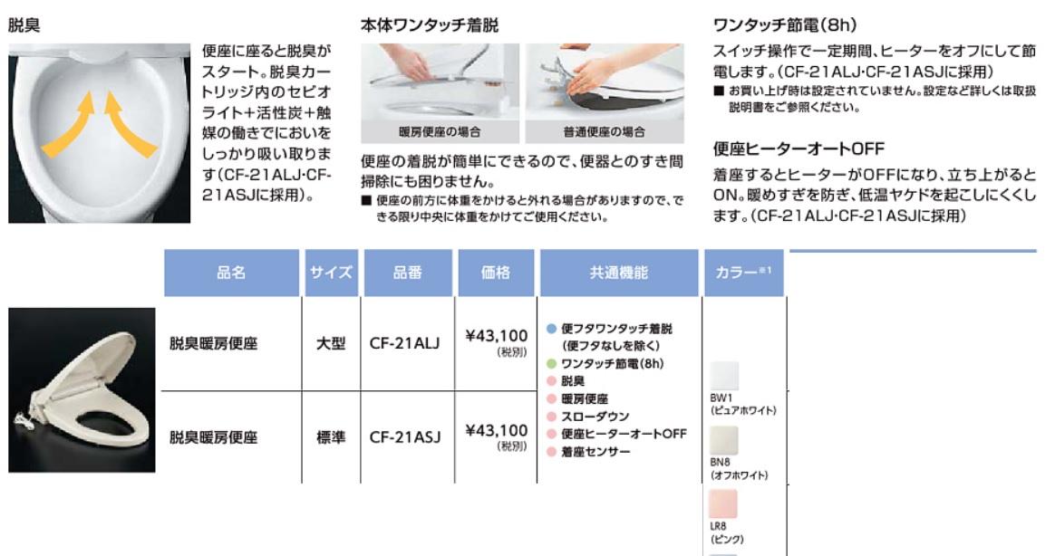 LIXIL脱臭暖房便座 CF-21ALJ、ASJ 北海道沖縄及び離島は別途送料かかります。