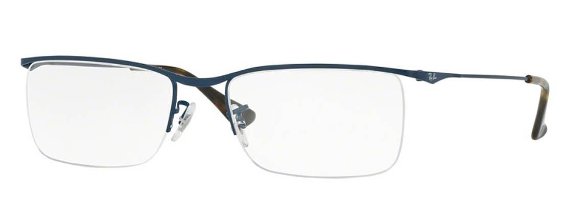 レイバン メガネ メンズ/レディース マットブルー レクタングル ハーフリム 新作2018 誕生日人気ギフト かわいいRay-Banマーク 誕生日人気ギフト 伊達めがね 度付き 老眼鏡 セル/メタル 海外通販 イタリア製高品質 送料無料