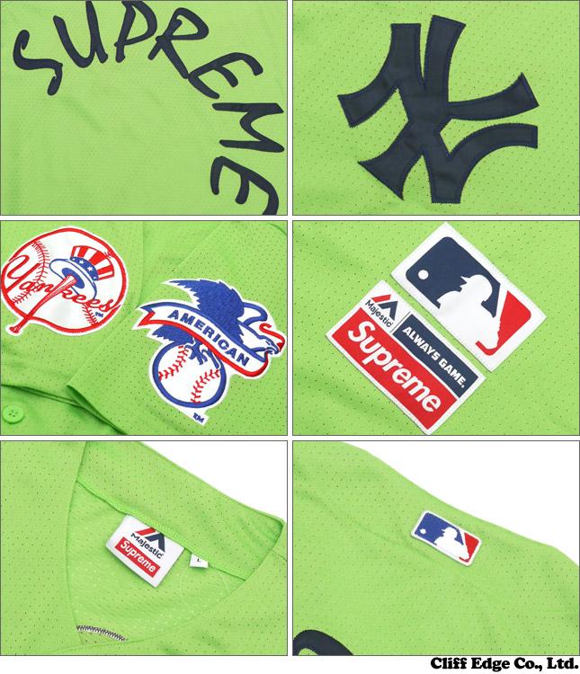 ae5697dd9605 SUPREME (shupurimu) x New York Yankees (New York Yankees) Majestic  (majestic) 215-001228-055 GREEN Baseball Jersey (baseball shirts) +
