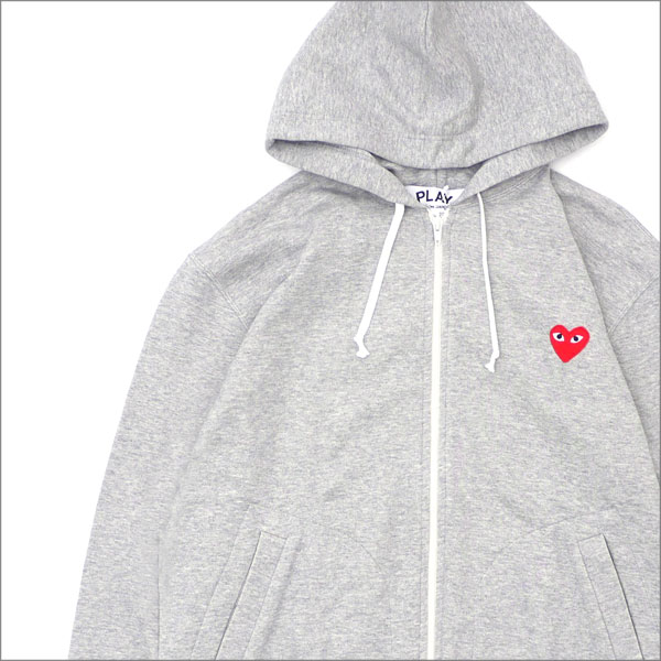 PLAY COMME des GARCONS プレイ コムデギャルソン MENS RED ZIP HOODIE スウェットパーカー GRAY 211000545062x【新品】 SWT HOODY