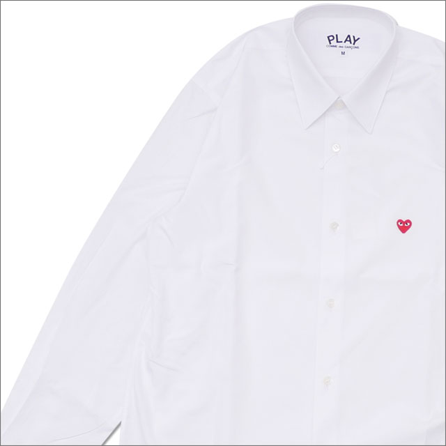 PLAY COMME des GARCONS プレイ コムデギャルソン MENS MINI RED HEART L S SHIRT 長袖シャツ WHITE 216001526040x【新品】 TOPS