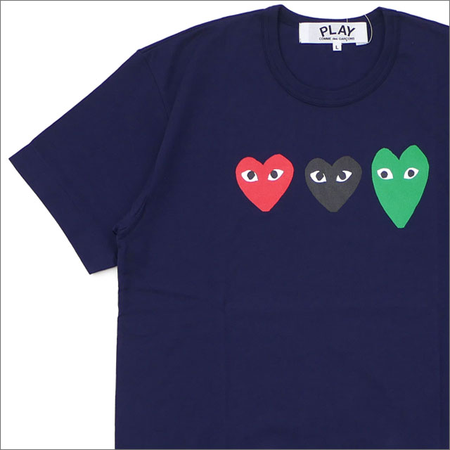 PLAY COMME des GARCONS プレイ コムデギャルソン MENS 3COLOR HEART TEE Tシャツ NAVY 200007747047x【新品】 半袖Tシャツ