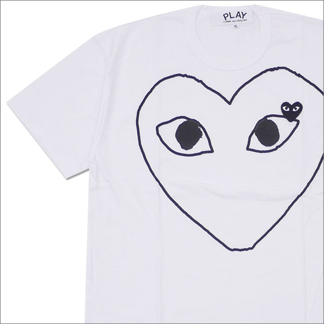 PLAY COMME des GARCONS プレイ コムデギャルソン MENS OUTLINE HEART WAPPEN TEE Tシャツ WHITExBLACK 200007744060x【新品】 半袖Tシャツ