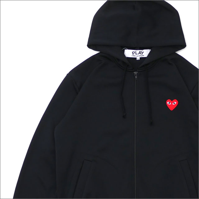 PLAY COMME des GARCONS プレイ コムデギャルソン MENS RED HEART ZIP UP JERSEY PARKA パーカー BLACK 212001017051x【新品】 SWT HOODY