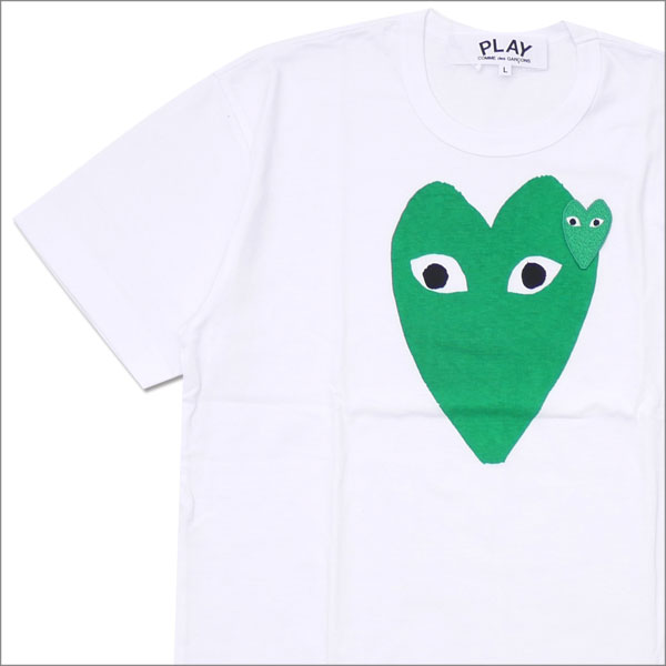 PLAY COMME des GARCONS プレイ コムデギャルソン MENS GREEN HEART PRINT TEE Tシャツ WHITE 200007756050x【新品】 半袖Tシャツ