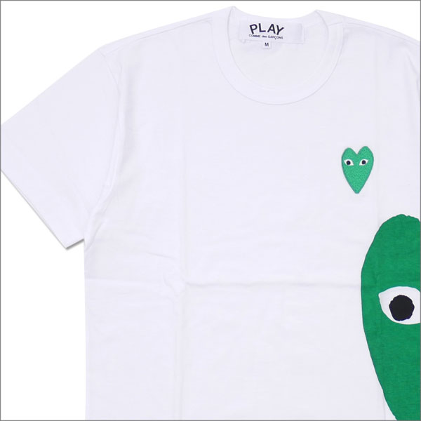 PLAY COMME des GARCONS プレイ コムデギャルソン MENS GREEN HEART SIDE PRINT TEE Tシャツ WHITE 200007758040x【新品】 半袖Tシャツ