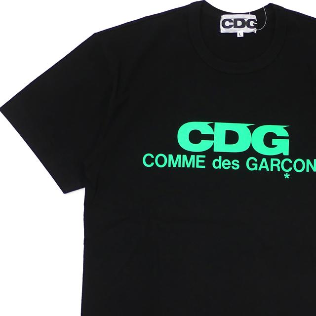 新品 コムデギャルソン CDG COMME des GARCONS FLUORESCENT LOGO TEE Tシャツ BLACKxGREEN ブラック 黒 メンズ 新作 半袖Tシャツ