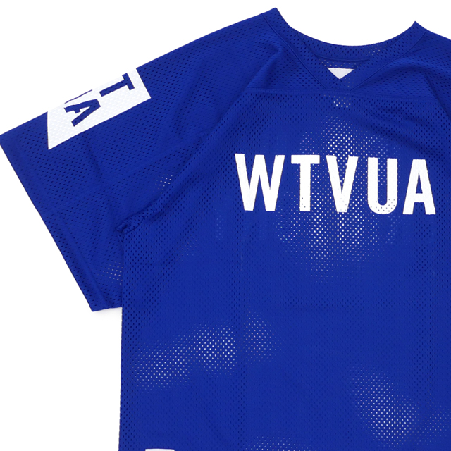 新品 ダブルタップス WTAPS QB/TEE.POLY メッシュ フットボールシャツ BLUE ブルー 青 メンズ 新作 191ATDT-CSM29 (W)TAPS 半袖Tシャツ