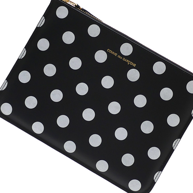 新品 コムデギャルソン Wallet COMME des GARCONS POLKA DOTS PRINTED Pouch クラッチバッグ ポーチ BLACKブラック 黒 メンズ レディース グッズ