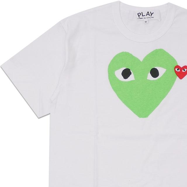 新品 プレイ コムデギャルソン PLAY COMME des GARCONS MENS COLOR HEART PRINT TEE Tシャツ WHITExGREEN メンズ 半袖Tシャツ