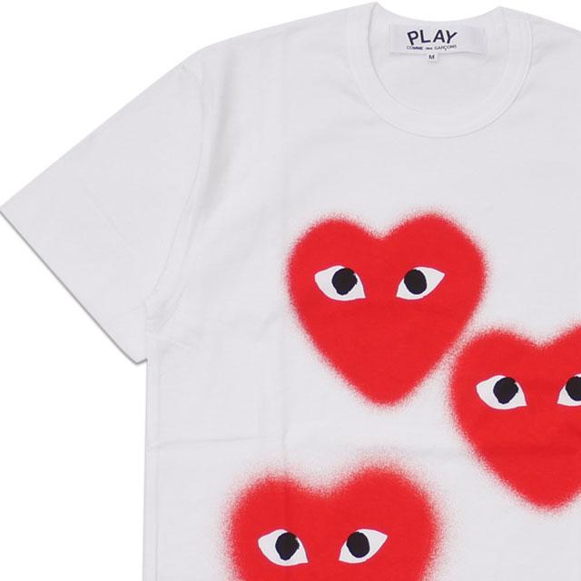 新品 プレイ コムデギャルソン PLAY COMME des GARCONS MENS XMAS THREE HEART TEE Tシャツ WHITE ホワイト 白 メンズ 半袖Tシャツ