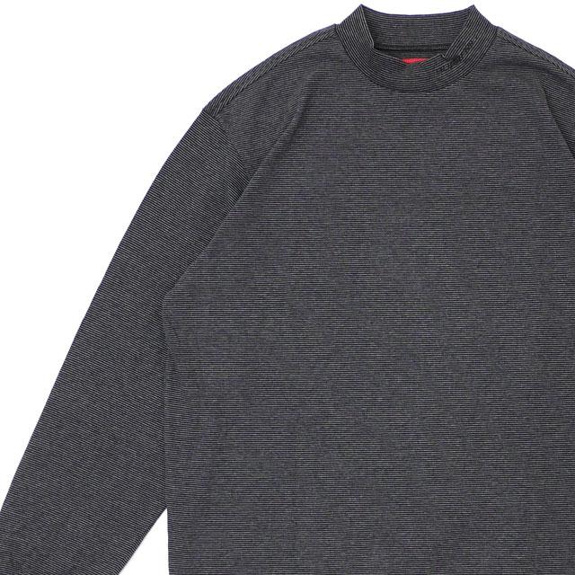 新品 シュプリーム SUPREME Micro Stripe Mock Neck モックネック 長袖Tシャツ BLACK ブラック 黒 メンズ 新作 TOPS