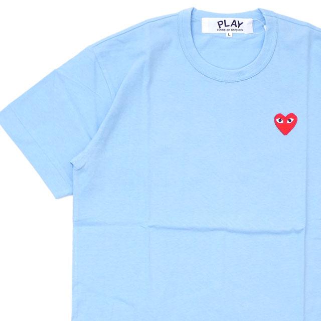新品 プレイ コムデギャルソン PLAY COMME des GARCONS MENS RED HEART WAPPEN TEE Tシャツ LIGHT BLUE ブルー 青 メンズ 新作 半袖Tシャツ