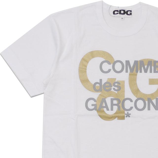 新品 シーディージー CDG コムデギャルソン COMME des GARCONS MENS LOGO GOLD PRINT TEE Tシャツ WHITE ホワイト 白 メンズ 新作 半袖Tシャツ