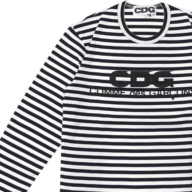 新品 シーディージー CDG コムデギャルソン COMME des GARCONS MENS LOGO BORDER L/S TEE 長袖Tシャツ WHITE/BLACK ホワイト ブラック 白 黒 メンズ 新作 TOPS