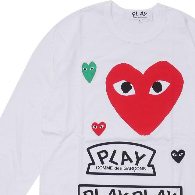 コムデギャルソン COMME des GARCONS 100%安心保証 当店取扱い商品は全て本物 正規商品 新品 プレイ PLAY MENS Printed TOPS 売却 長袖Tシャツ S 新作 T-Shirt L Multiple Heart WHITExRED 格安店 メンズ