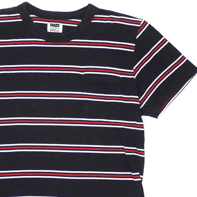ラッツ RATS 100%安心保証 激安通販専門店 当店取扱い商品は全て本物 正規商品 ボーダー ポケット Tシャツ メンズ 半袖Tシャツ BLACK 流行 ブラック 39ショップ Sサイズ 中古 104002982031
