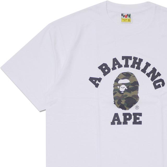 エイプ A BATHING APE 1ST CAMO COLLEGE TEE Tシャツ WHITExGREEN 1E80110008 200007990060 【新品】