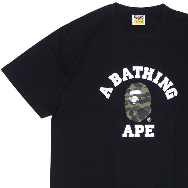 エイプ A BATHING APE 1ST CAMO COLLEGE TEE Tシャツ BLACKxGREEN 1E80110008 200007990075 【新品】