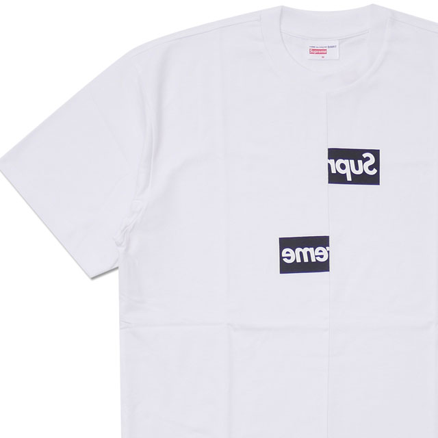 [次回のお買い物で使える500円OFFクーポン配布中!! 4/30(火)まで!!] シュプリーム SUPREME x コムデギャルソン シャツ COMME des GARCONS SHIRT Split Box Logo Tee ボックスロゴ Tシャツ WHITE 200007997130 104002722040 【新品】418000661050