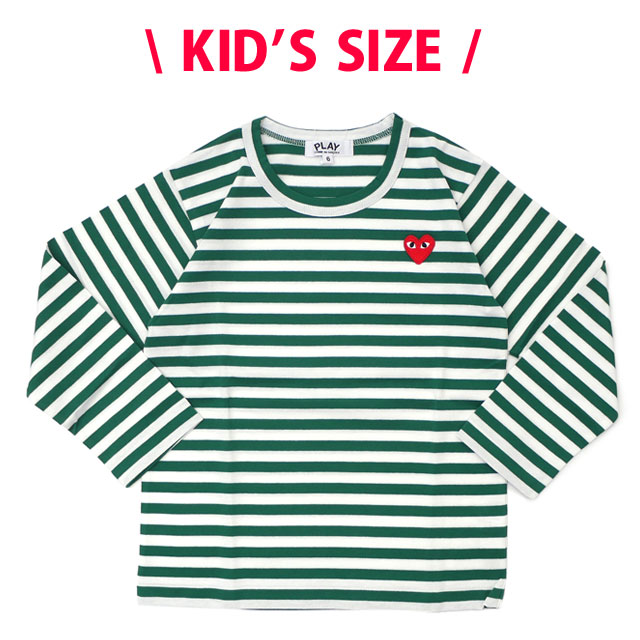 プレイ コムデギャルソン PLAY COMME des GARCONS KIDS BORDER LS TEE 長袖Tシャツ GREEN グリーン 緑 キッズ 【新品】 202000991525