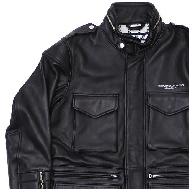 ネイバーフッド NEIGHBORHOOD M 65 EM SL JKT ジャケット シープレザー BLACK ブラック 黒 メンズ 【新品】 182SZNH JKM05 230001100041