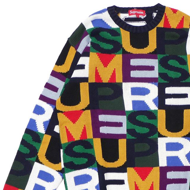 シュプリーム SUPREME 18FW Big Letters Sweater ニット MULTICOLOR マルチカラー メンズ 【新品】 2018FW 231000360049