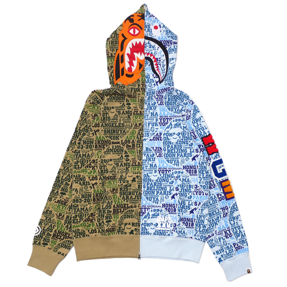 62b382ca エイプ A BATHING APE BAPE XXV CITIES CAMO TIGER SHARK HALF FULL ZIP HOODIE  GREEN 212001027255 112002904055