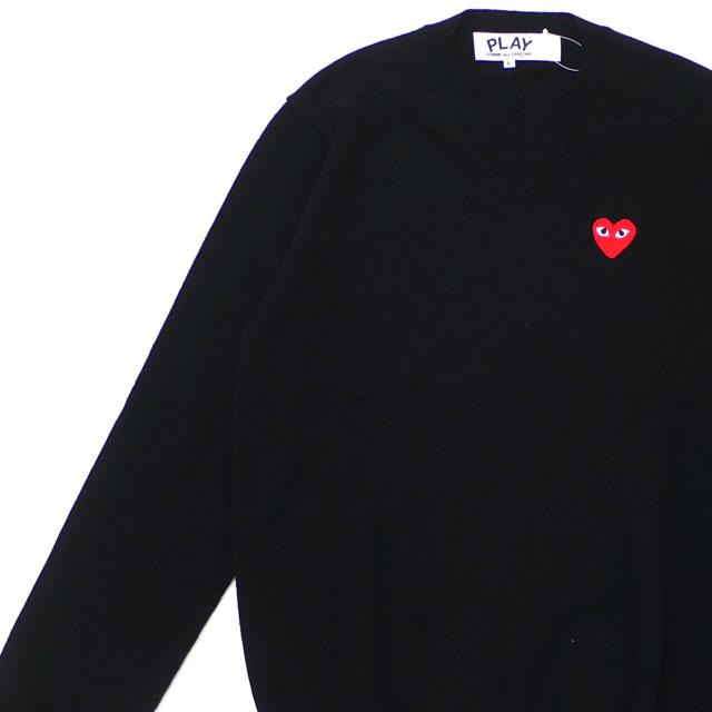 プレイ コムデギャルソン PLAY COMME des GARCONS MENS RED HEART WAPPEN KNIT ニット BLACK ブラック 黒 メンズ 【新品】 231000363051