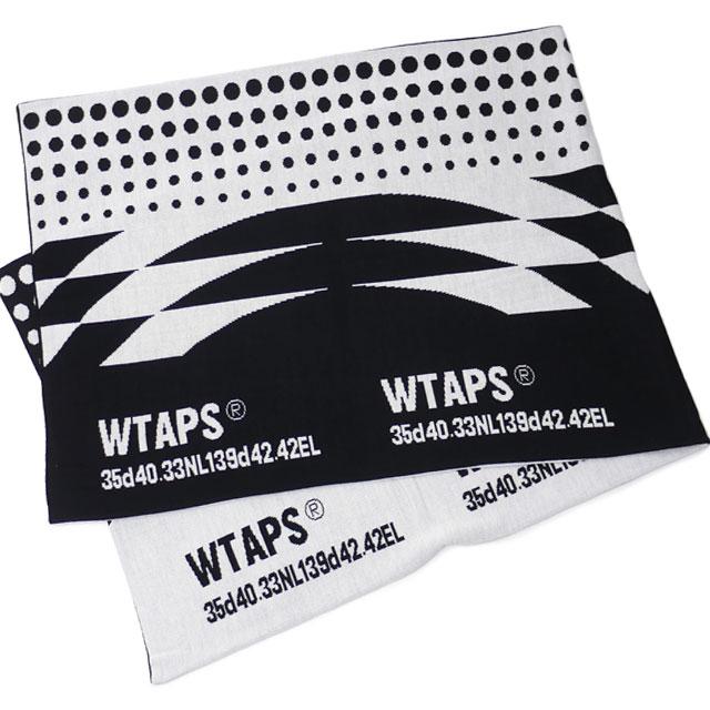 ダブルタップス WTAPS 18AW WRAP MUFFLER マフラー BLACKxWHITE ブラック 黒 メンズ 【新品】 2018AW 182MADT AC01 281000179011