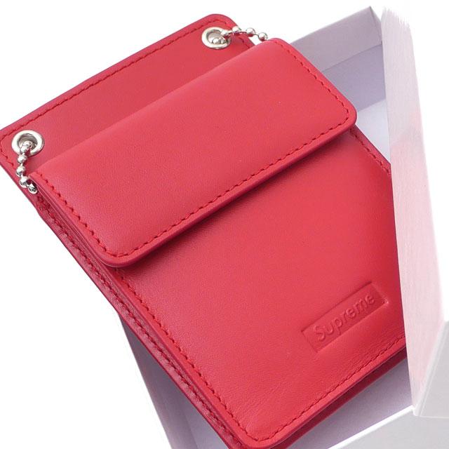 【新品】 Holder + RED 271000391113 Leather メンズ SUPREME 赤 レッド ウォレット ID 財布 Wallet シュプリーム