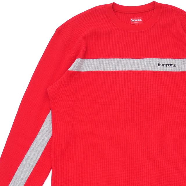 36d398532c シュプリーム SUPREME Panel Stripe Waffle Thermal long sleeves T-shirt RED red red  men 418000458063 ...