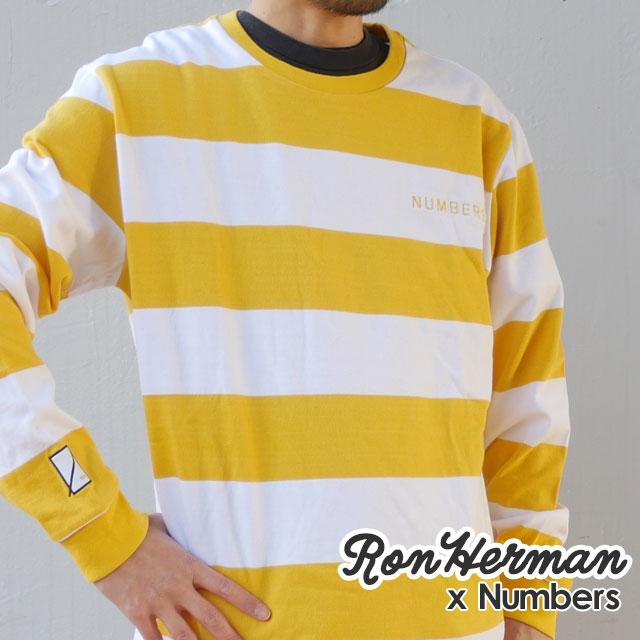 ロンハーマン 新作 大人気 Ron Herman 100%安心保証 当店取扱い商品は全て本物 正規商品 ナンバーズ Numbers x RHC 2020 新作 LS TEE 黄色 202001028058 イエロー YELLOW メンズ 長袖Tシャツ 新品 STRIPED