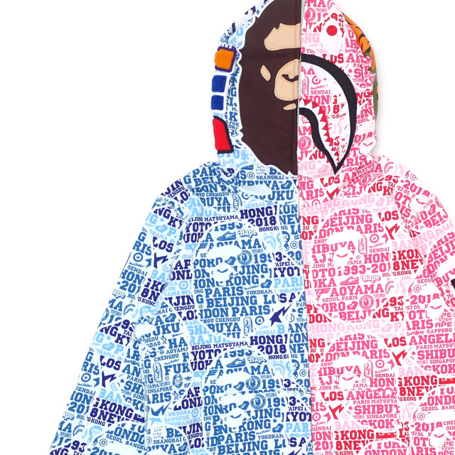 エイプ A BATHING APE BAPE XXV CITIES CAMO 2ND APE SHARK HALF FULL ZIP HOODIE BLUExPINK 【新品】 112002907054