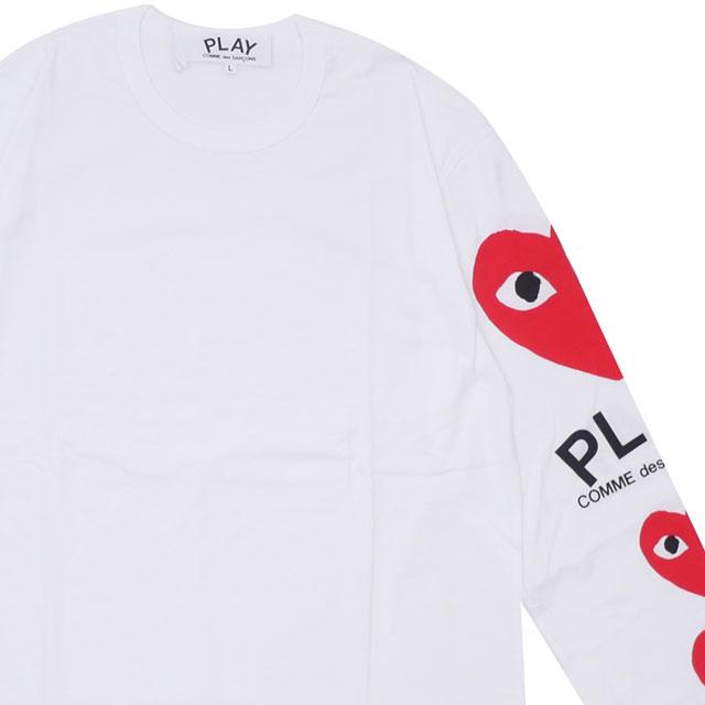 プレイ コムデギャルソン PLAY COMME des GARCONS MENS SLEEVE 4HEART LS TEE 長袖Tシャツ WHITE ホワイト 白 メンズ 【新品】 202001041050