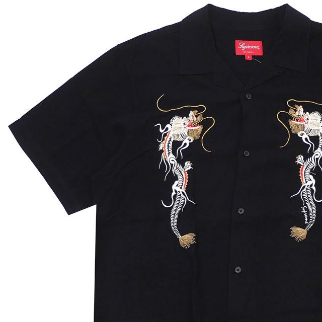 [次回のお買い物で使える500円OFFクーポン配布中!! 4/30(火)まで!!] シュプリーム SUPREME Dragon Rayon Shirt レーヨン 半袖シャツ BLACK ブラック メンズ 【新品】 418000623051