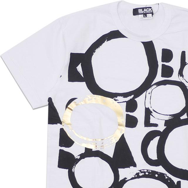 [次回のお買い物で使える500円OFFクーポン配布中!! 4/30(火)まで!!] ブラック コムデギャルソン BLACK COMME des GARCONS FOIL PRINT TEE (7 HOLE) Tシャツ WHITE ホワイト メンズ 【新品】 200008098050