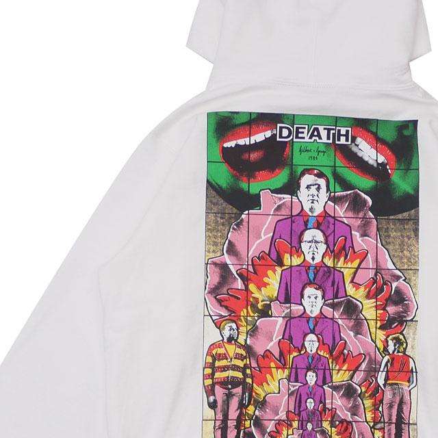 [次回のお買い物で使える500円OFFクーポン配布中!! 4/30(火)まで!!] 新品 シュプリーム SUPREME 19SS Gilbert&George DEATH Hooded Sweatshirt パーカー WHITE ホワイト 白 メンズ 新作 2019SS 418000707030