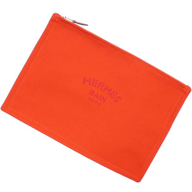新品 エルメス HERMES TROUSSE FLAT GM PORCH クラッチバッグ ポーチ ORANGE メンズ レディース 288001194018