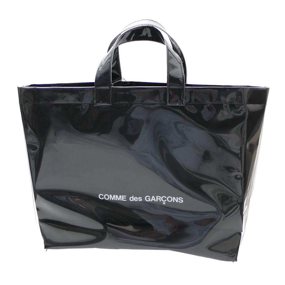 CDG BLACK MARKET Comme Des Garcons PVC Paper Black Handbag Tote Bag Shopping Bag