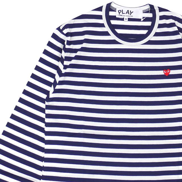 メンズ HEART MENS L/S TEE des BORDER COMME コムデギャルソン 長袖Tシャツ ホワイトxネイビー PLAY RED プレイ SMALL GARCONS 新品 WHITExNAVY
